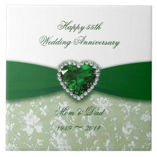 Tuile d'anniversaire de mariage de damassé grand carreau carré