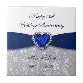 Tuile d'anniversaire de mariage de damassé quarant petit carreau carré