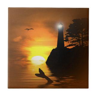 Tuile d'art de la queue et du phare de la baleine petit carreau carré