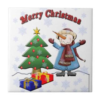 Tuile de bonhomme de neige de Joyeux Noël Carreau En Céramique