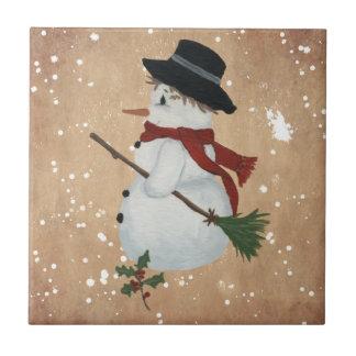 Tuile de bonhomme de neige de pays petit carreau carré