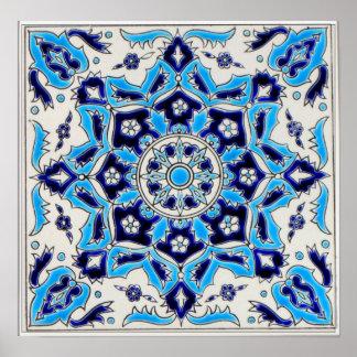 Tuile de céramique de fleurs bleues et blanches posters