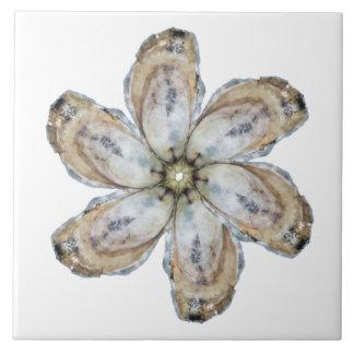 Tuile de fleur d'huître - concevez un blanc grand carreau carré