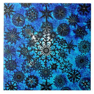 Tuile de flocons de neige des bleus layette de grand carreau carré