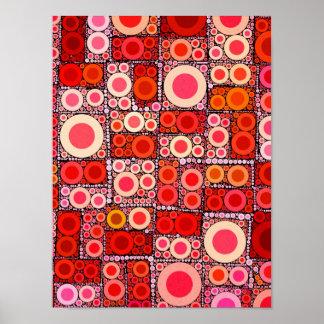 Tuile de mosaïque moderne fraîche de rouge orange  poster