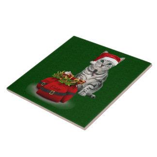 Tuile de Noël de chat et de souris Grand Carreau Carré