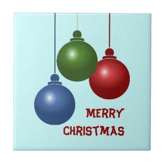 Tuile de Noël de trois boules Petit Carreau Carré