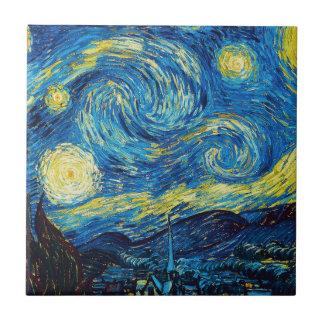 Tuile de nuit étoilée de Van Gogh Petit Carreau Carré