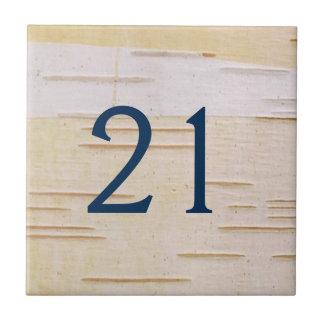 Tuile de numéro de maison d'écorce de bouleau petit carreau carré