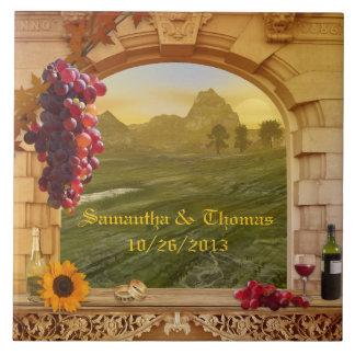 Tuile de photo de mariage de thème de vignoble ou grand carreau carré
