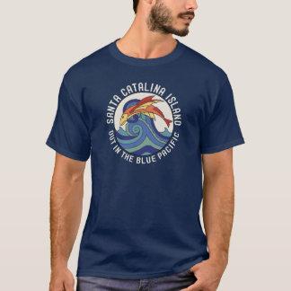 tuile de poissons de vol d'île de Père Noël T-shirt
