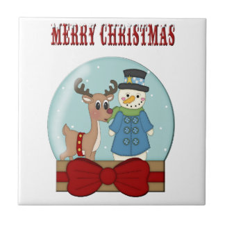Tuile de vacances de Snowglobe de Joyeux Noël Carreau En Céramique