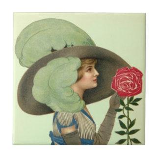 Tuile en bon état rose de Derby Lgt de casquette Petit Carreau Carré