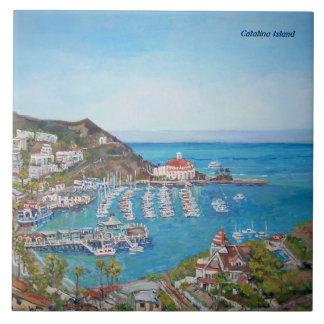 Tuile en céramique de photo d'île de Catalina Grand Carreau Carré