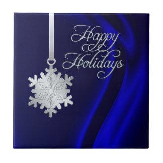 Tuile en soie bleue de vacances de flocon de neige petit carreau carré