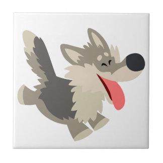 Tuile espiègle mignonne de loup de bande dessinée petit carreau carré