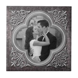 Tuile fleurie vintage de mariage de modèle photo d petit carreau carré