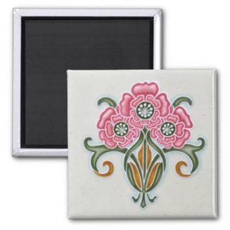 Tuile florale de Nouveau d'art Magnet Carré
