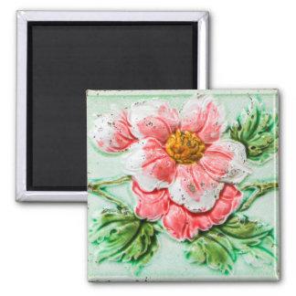 Tuile florale de rose de cru magnet carré