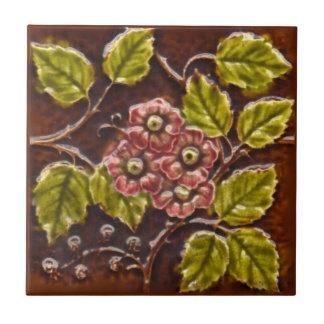 Tuile florale Repro de majolique victorienne Petit Carreau Carré