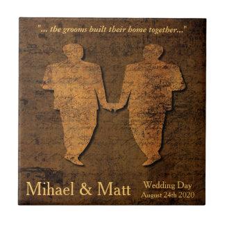 Tuile gaie de cadeau de mariage d'amour légendaire petit carreau carré