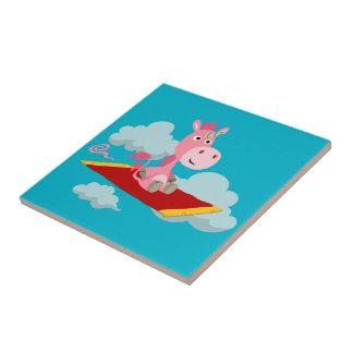 Tuile magique de tour du tapis de la licorne de petit carreau carré