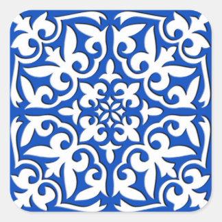 Tuile marocaine - bleu et blanc de cobalt sticker carré