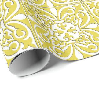 Tuile marocaine - jaune et blanc de moutarde papiers cadeaux noël