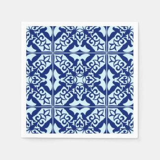 Tuile marocaine - marine et bleu-clair serviette jetable