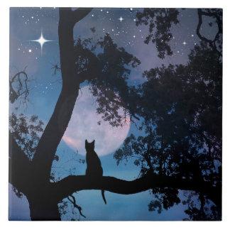 Tuile mignonne d'art de chat et de lune grand carreau carré