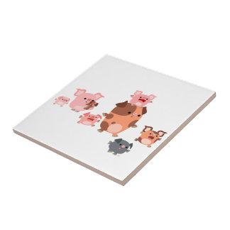 Tuile mignonne de famille de porc de bande petit carreau carré