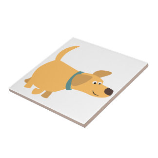 Tuile mignonne de Labrador de jaune de bande Petit Carreau Carré