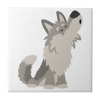 Tuile mignonne de loup de bande dessinée d'hurleme petit carreau carré