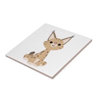 Tuile mignonne de Lynx de bande dessinée Petit Carreau Carré