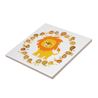 Tuile mignonne de mandala de lion de bande petit carreau carré