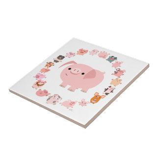 Tuile mignonne de mandala de porc de bande petit carreau carré