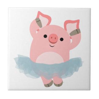 Tuile mignonne de porc de ballerine de bande dessi petit carreau carré
