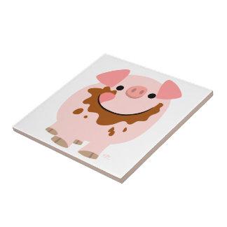 Tuile mignonne de porc de bande dessinée de petit carreau carré