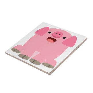 Tuile mignonne de porc de bande dessinée d'Oinking Petit Carreau Carré