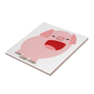 Tuile mignonne de porc de chant de bande dessinée petit carreau carré