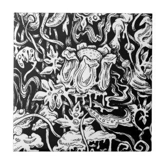 Tuile noire et blanche de jardin grotesque carreau