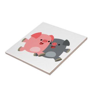 Tuile noire et blanche mignonne de porcs de bande  petit carreau carré