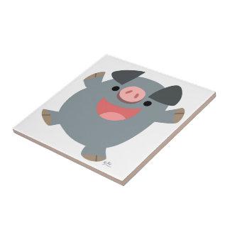 Tuile pleine d'entrain de porc de bande dessinée m petit carreau carré