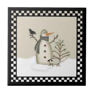 Tuile primitive de bonhomme de neige de pays petit carreau carré