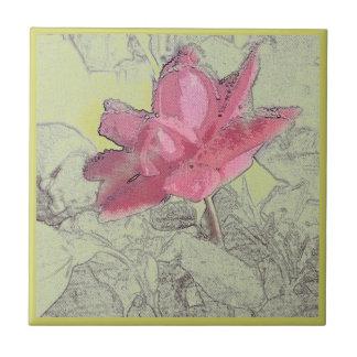 Tuile rose d'art carreaux en céramique