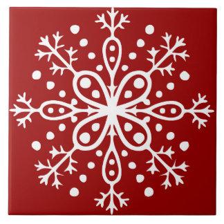 Tuile rouge de flocon de neige grand carreau carré