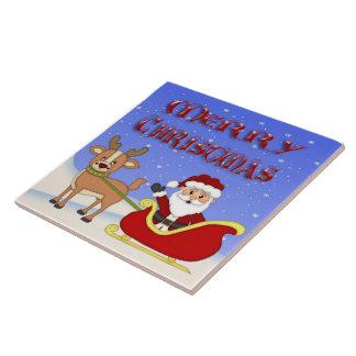 Tuile/trépied de Père Noël de Joyeux Noël Grand Carreau Carré