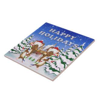 Tuile/trépied des souris des vacances heureuses grand carreau carré