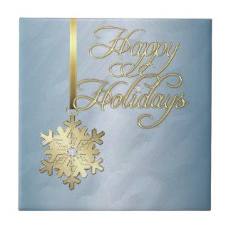 Tuile turquoise de vacances d'or de flocon de neig petit carreau carré