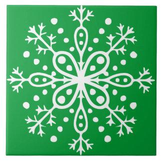 Tuile verte de flocon de neige grand carreau carré